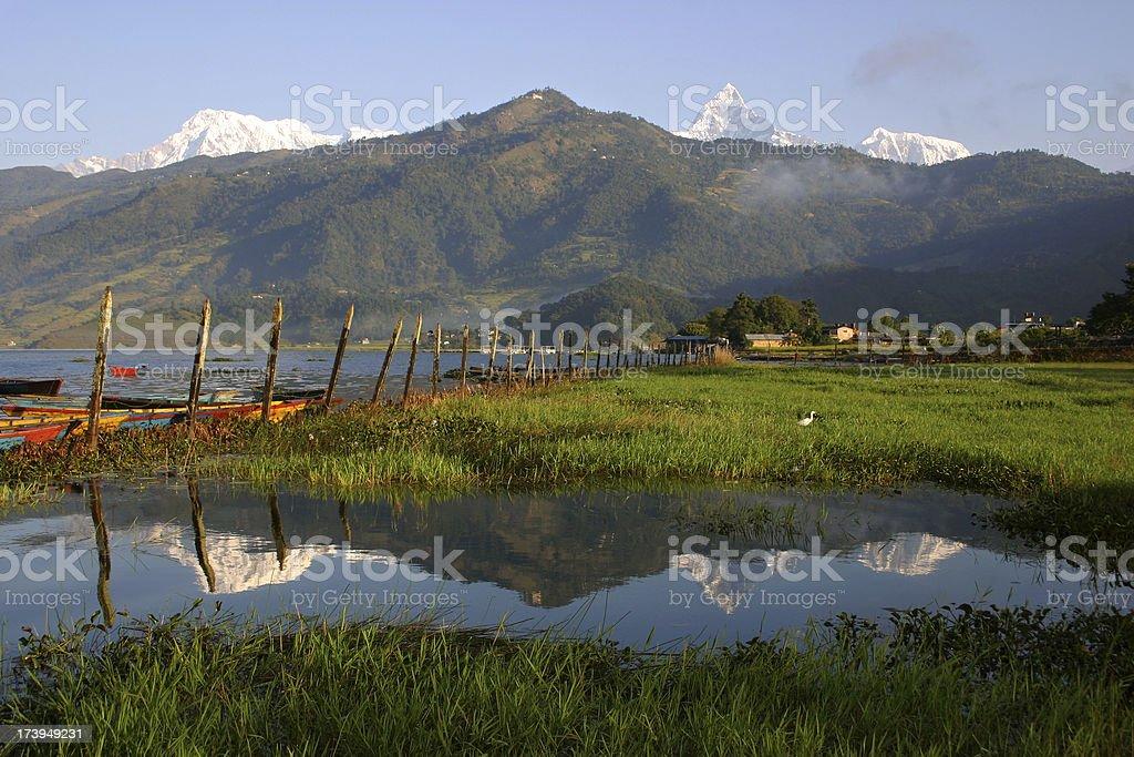 Reflection of Pokhara, Nepal stock photo