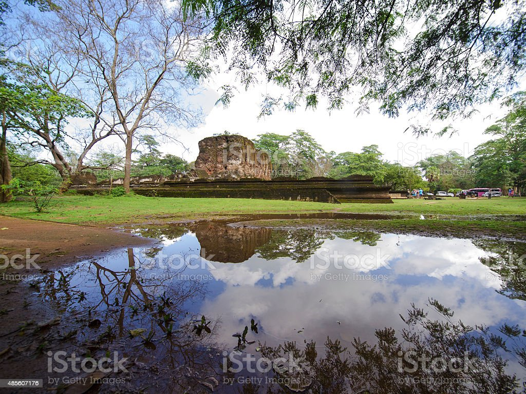 Reflection of Royal palace in water, Polonnaruwa, Sri Lanka stock photo