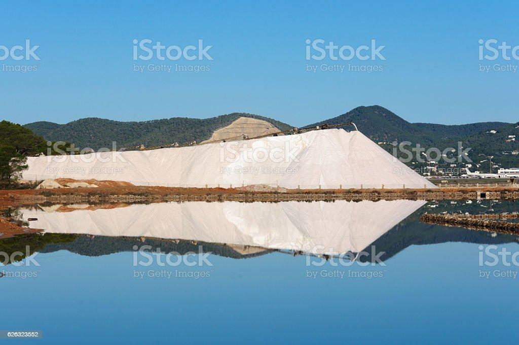 reflection of salt mountain stock photo