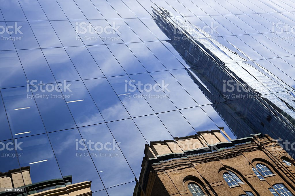Reflection of Skyscraper - The Shard in London, England stock photo