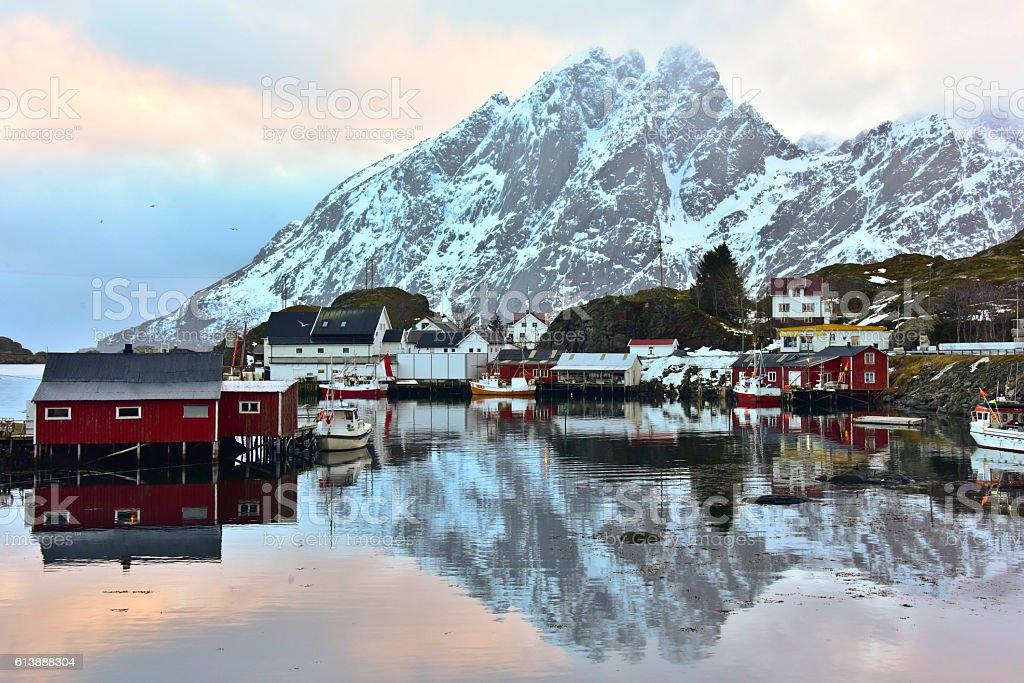 Reflection of snow mountain, Lofoten stock photo