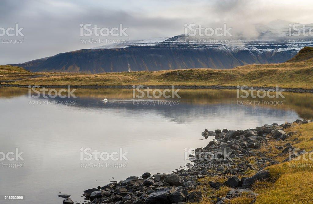 Reflection of snow mountain with stone foreground autumn season Iceland stock photo