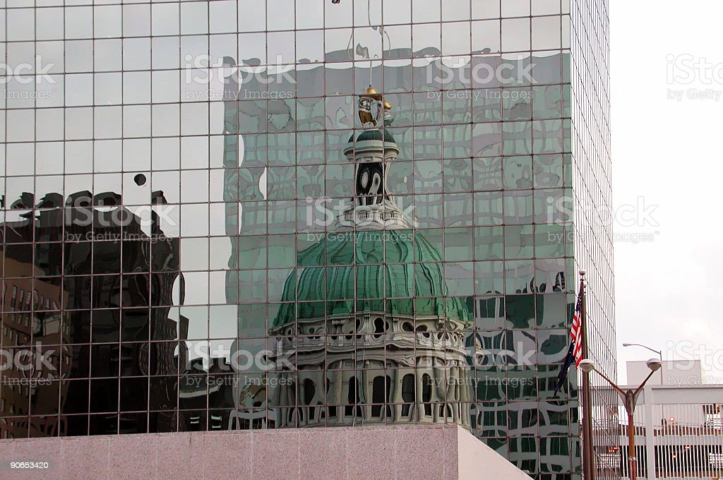 Reflection of  St. Louis City Hall stock photo