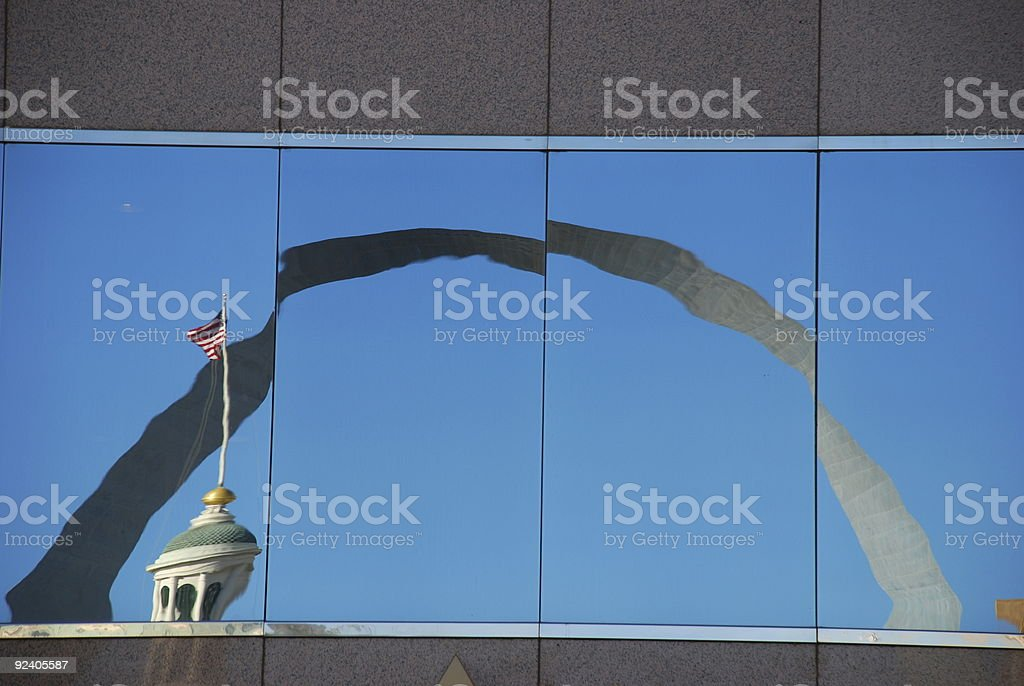 Reflection of St. Louis Gateway Arch royalty-free stock photo