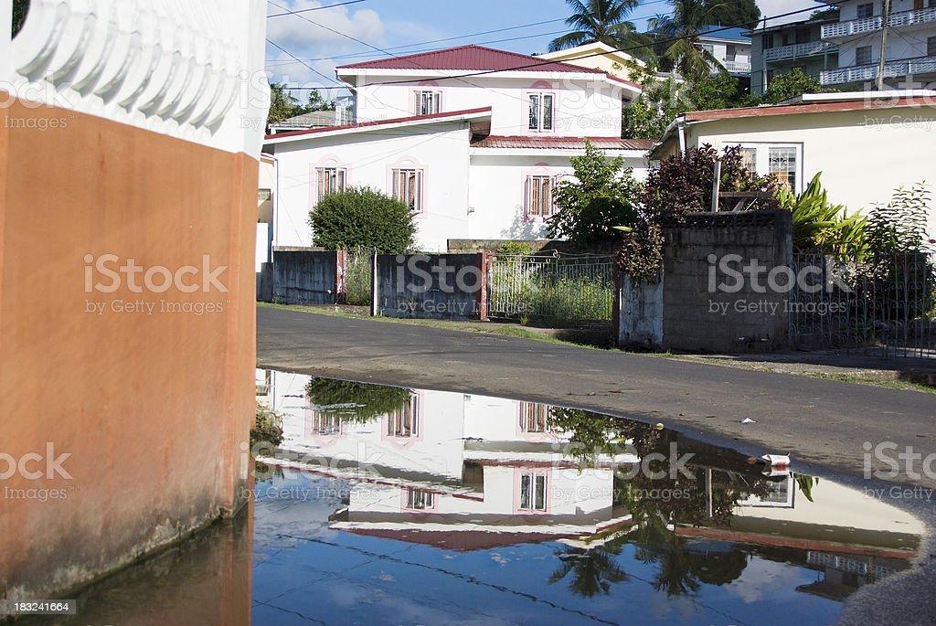 reflection of suburban neighborhood royalty-free stock photo