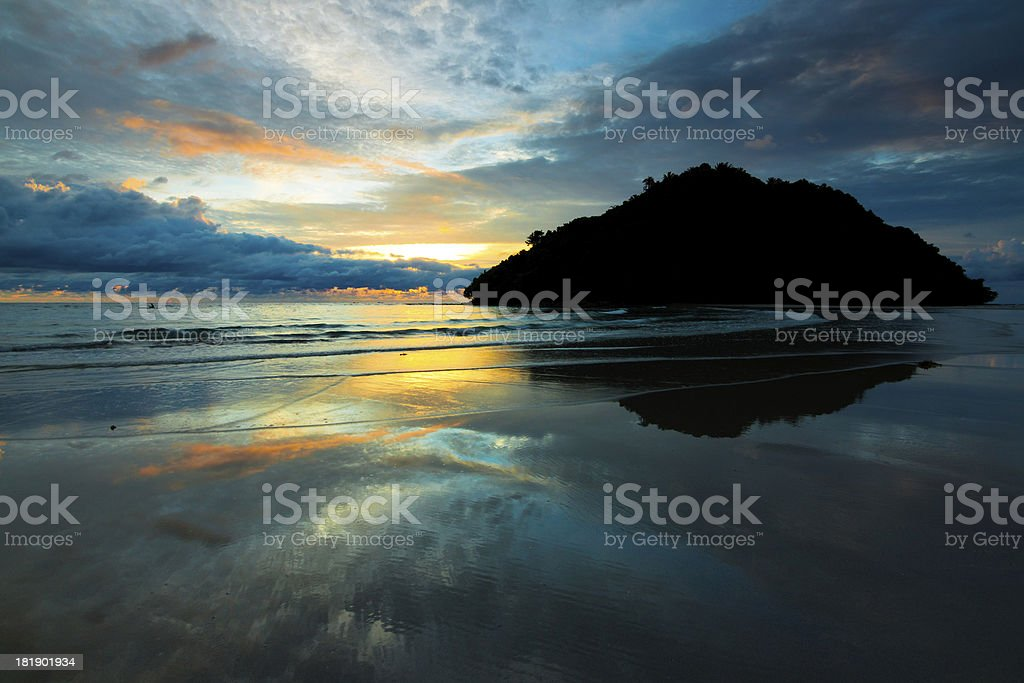 Reflection of sunset colors at Sabah, Borneo, Malaysia royalty-free stock photo