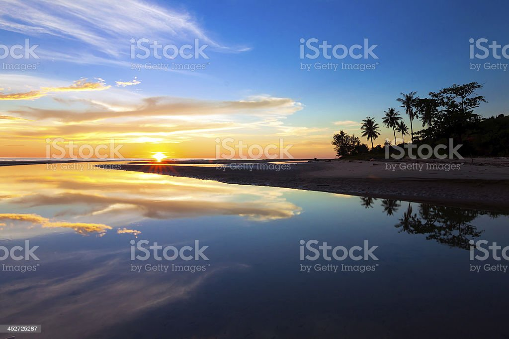 Reflection of sunset colors royalty-free stock photo