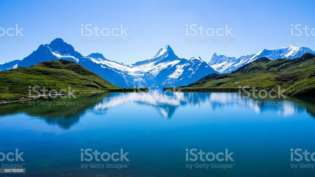 Reflection of the famous Matterhorn in lake, Switzerland stock photo