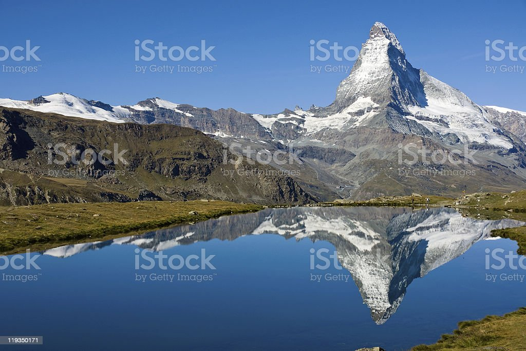Reflection of the famous Matterhorn royalty-free stock photo