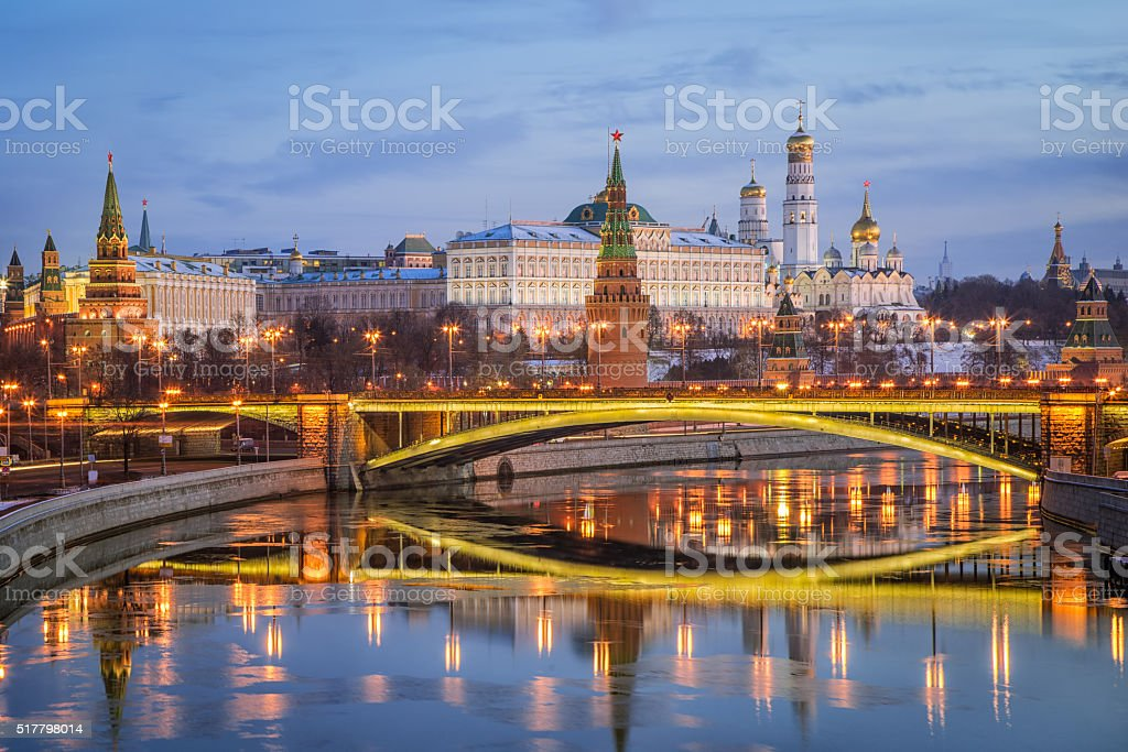 Reflection of the Moscow Kremlin in the morning stock photo