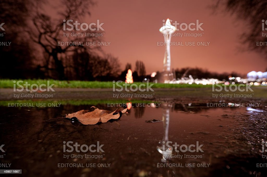 Reflection of the Seattle Space Needle at night royalty-free stock photo