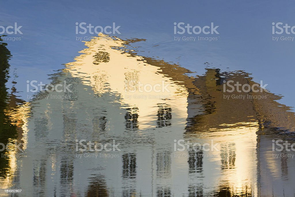 'Reflection of the Uppland Museum in Uppsala, Sweden' stock photo