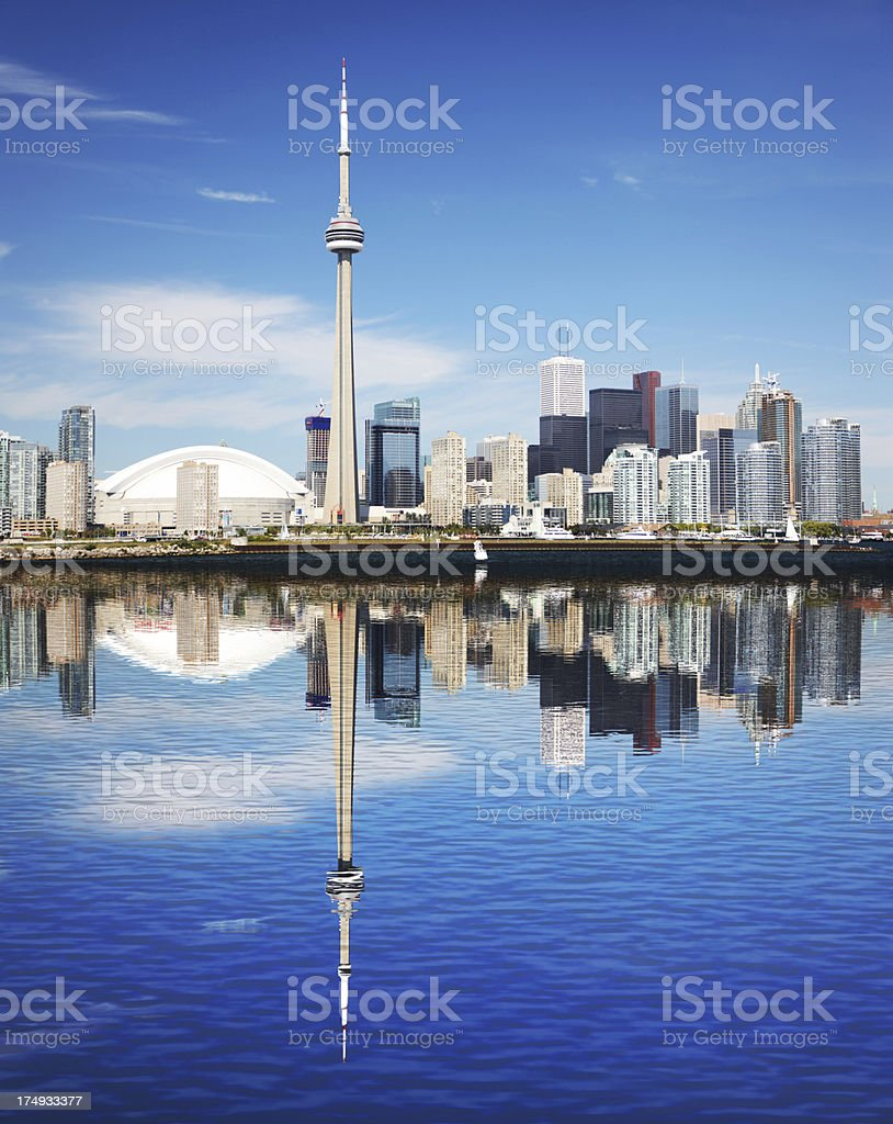 Reflection of Toronto City and The CN Tower stock photo