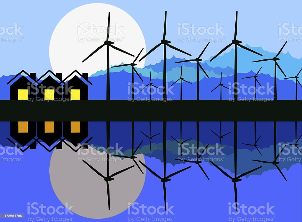 Reflection of wind turbine generating electricity. royalty-free stock photo