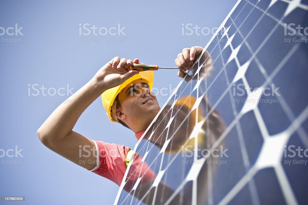 Reflection on a solar panel royalty-free stock photo