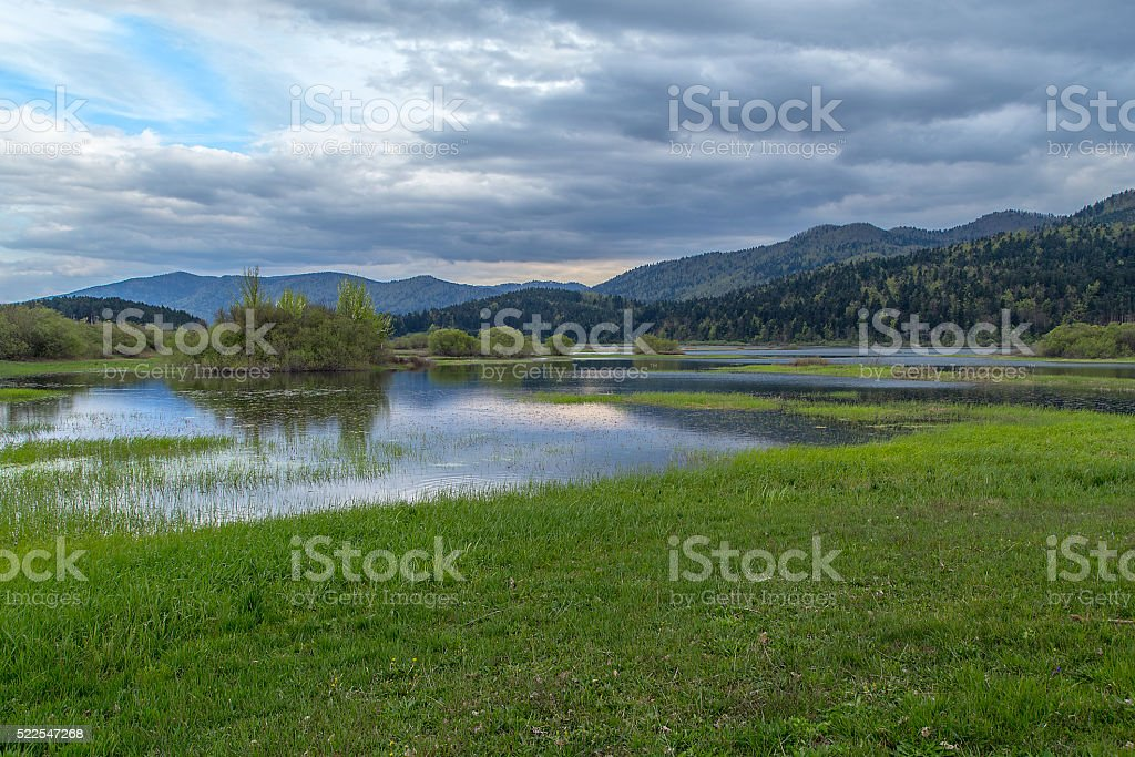Reflection on the Cerknica Lake stock photo