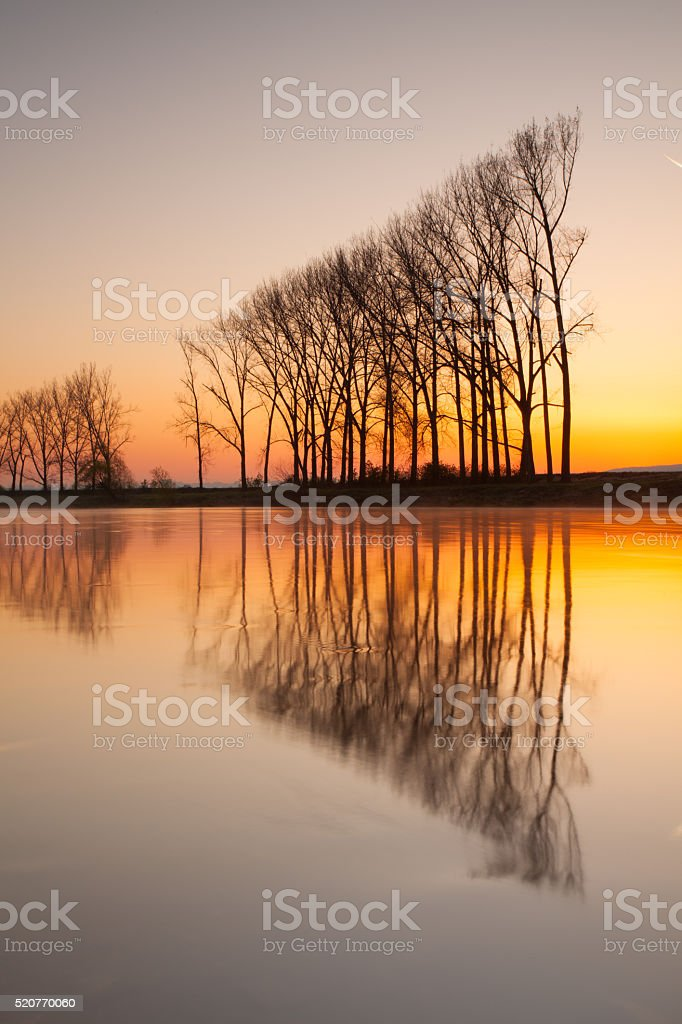 Reflection on the morning river. stock photo