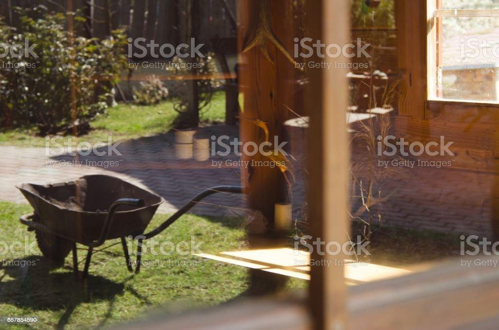 reflection on window stock photo