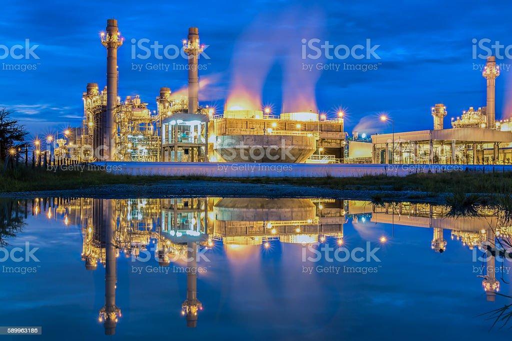 Reflection power plant. stock photo