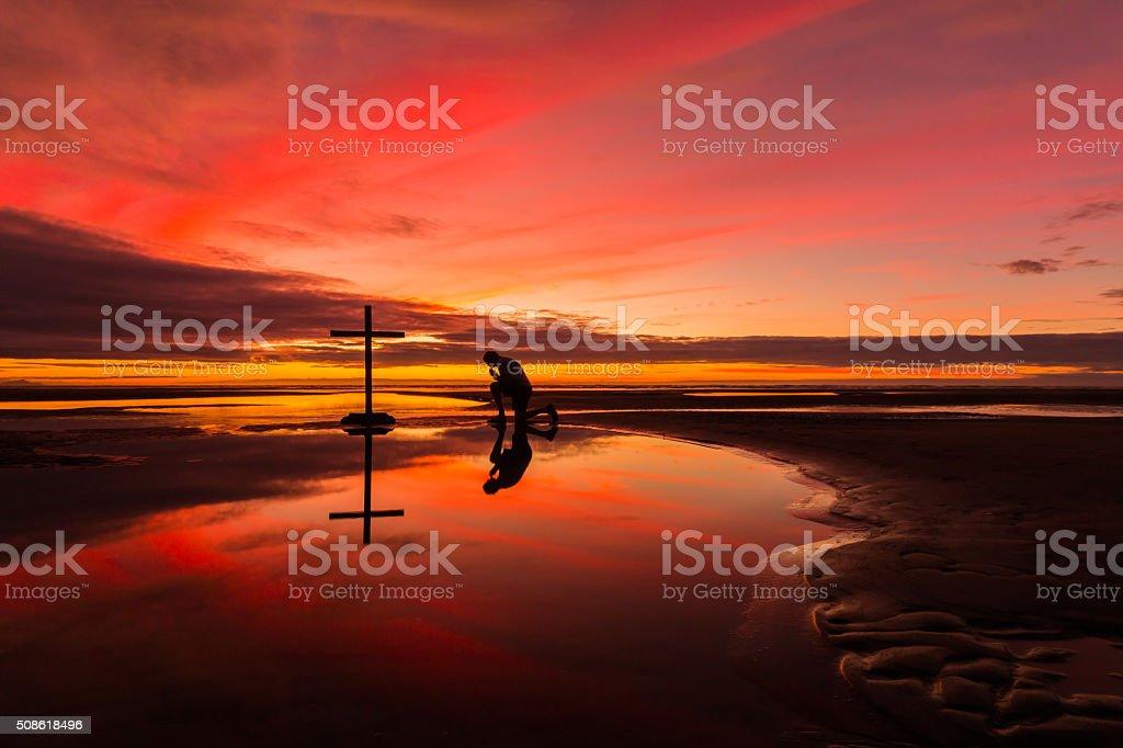 Reflection Praying stock photo