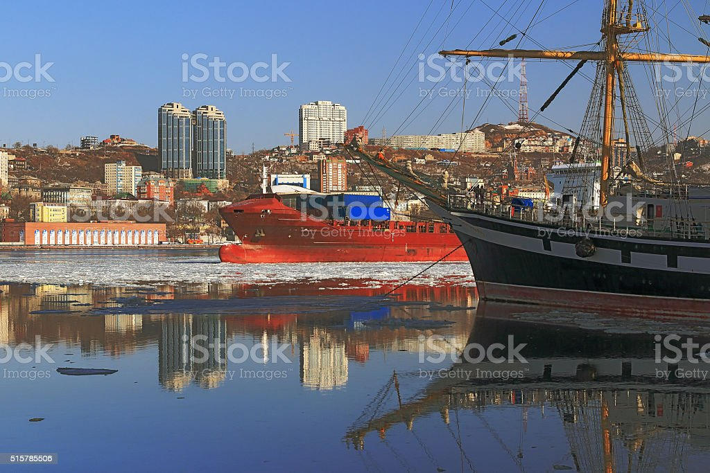 reflection sailing ship stock photo