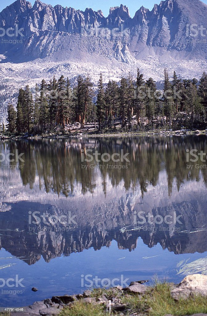Reflection Sierra Nevada Mountains lake King's Canyon National Park California stock photo