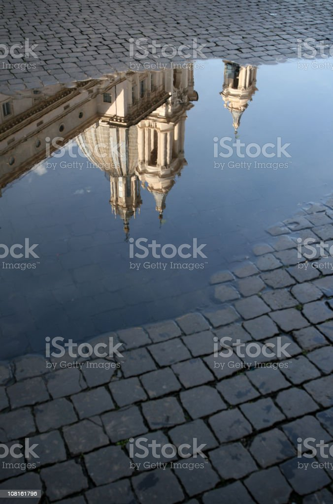 Reflection - The Church of Sant'Angese in Agone royalty-free stock photo