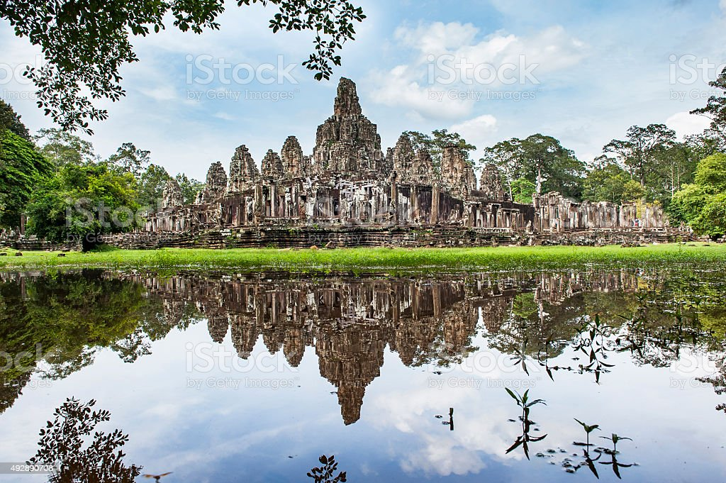 Reflection water Ta Prohm temple stock photo