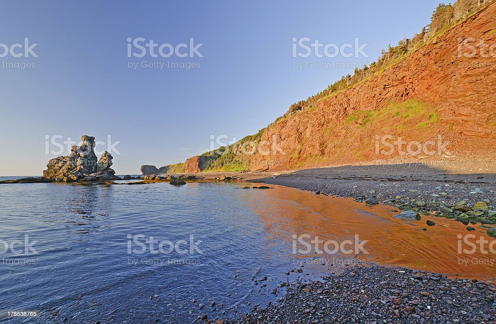 Reflections and Shadows on the Coast at Sunset royalty-free stock photo