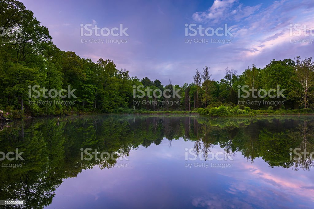 Reflections at a pond in Delaware Water Gap National Recreationa stock photo