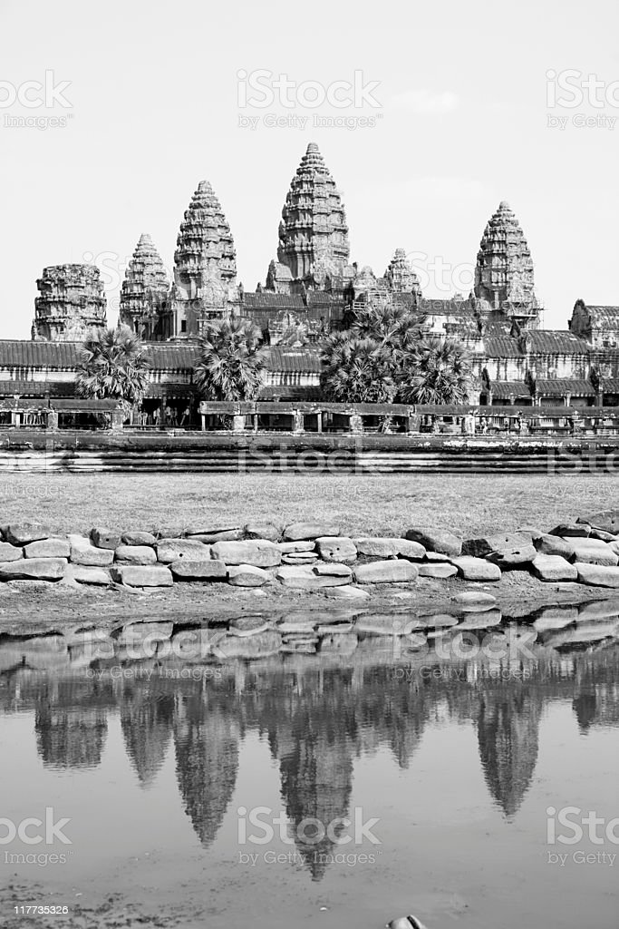 reflections at Angkor Wat royalty-free stock photo