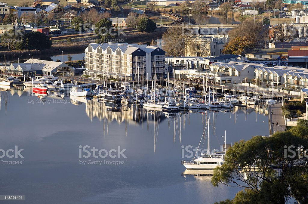 Reflections at Home Point, Tamar River,Launceston, Tasmania, Australia stock photo
