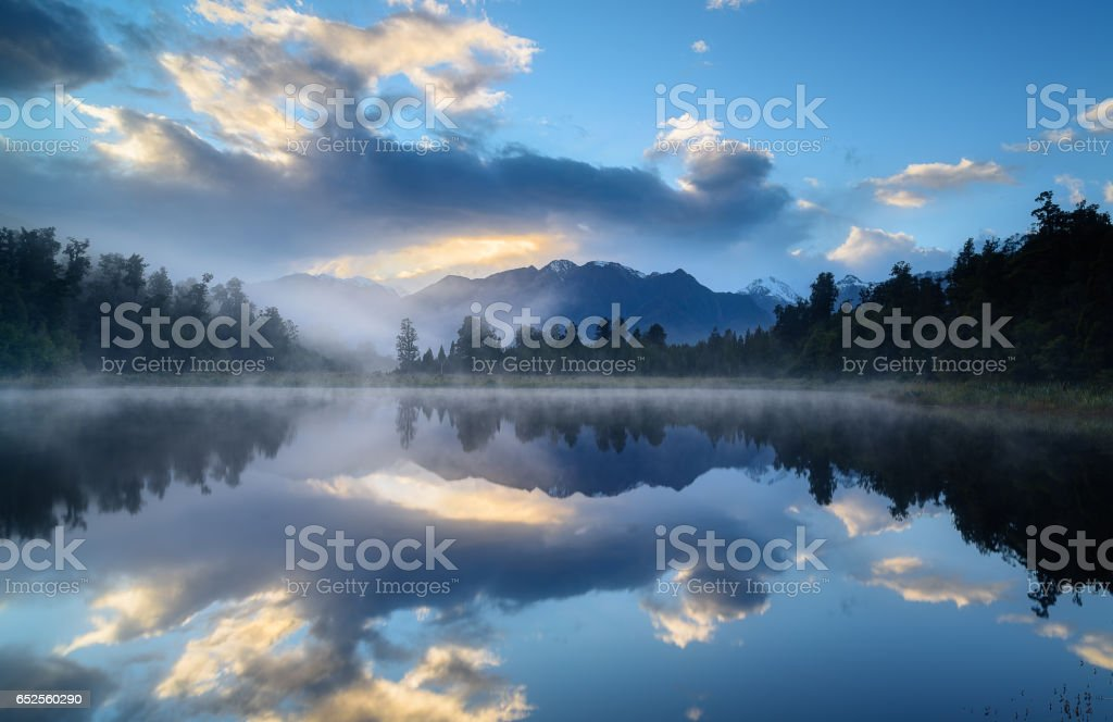 Reflections at Lake Matheson stock photo