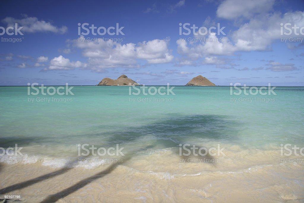 reflections at Lanikai beach royalty-free stock photo