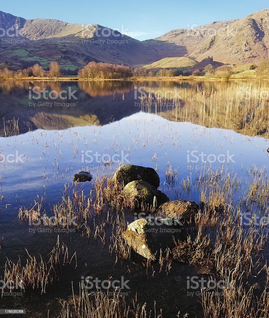 Reflections at Little Langdale Tarn royalty-free stock photo