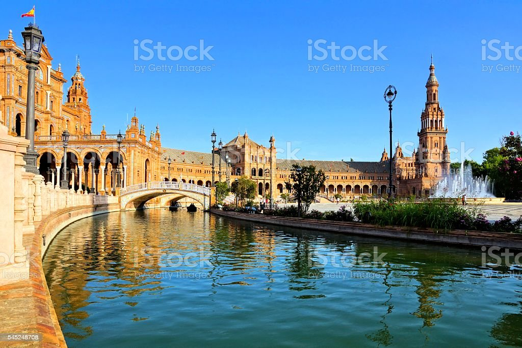 Reflections at Plaza de Espana, Sevilla, Spain stock photo