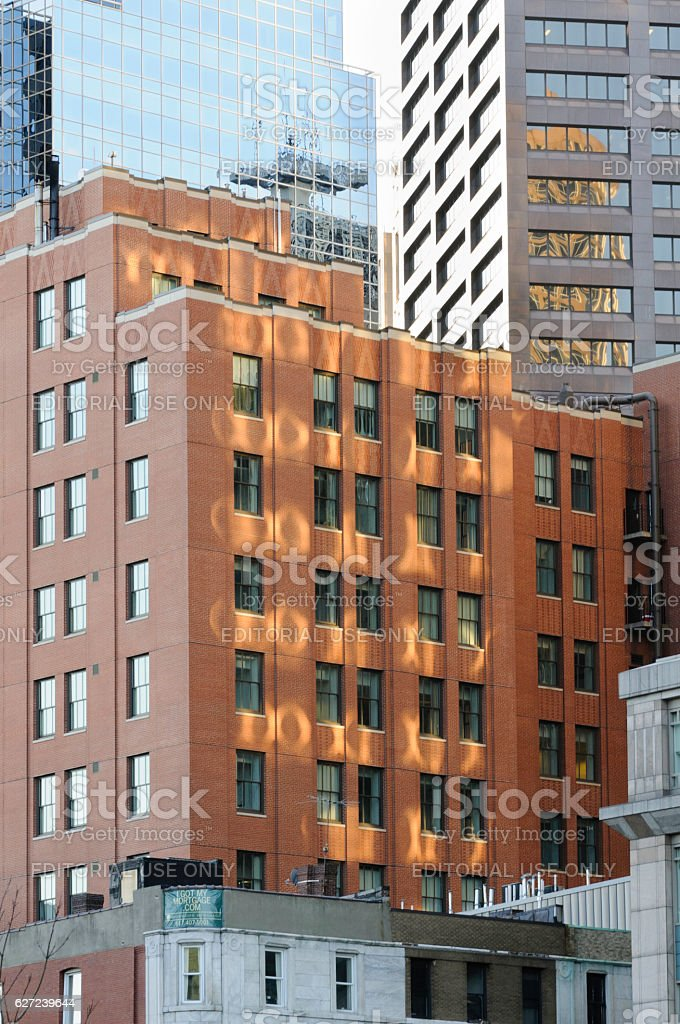 Reflections buildings Boston stock photo
