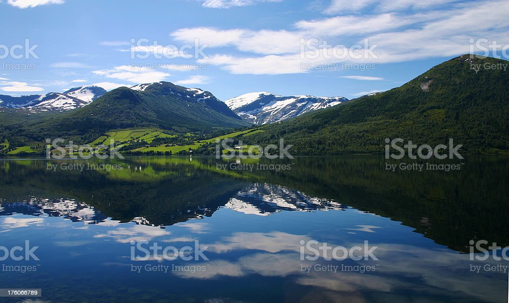 Reflections in a norwegian lake royalty-free stock photo