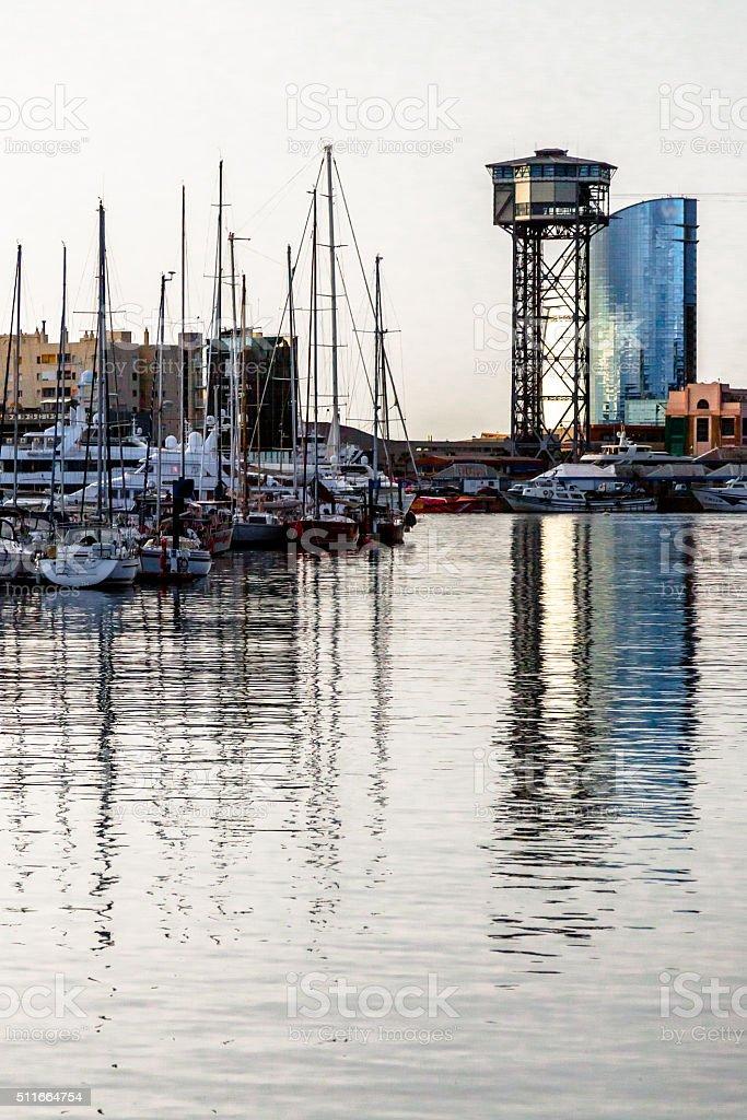 Reflections in Barcelona Harbor stock photo