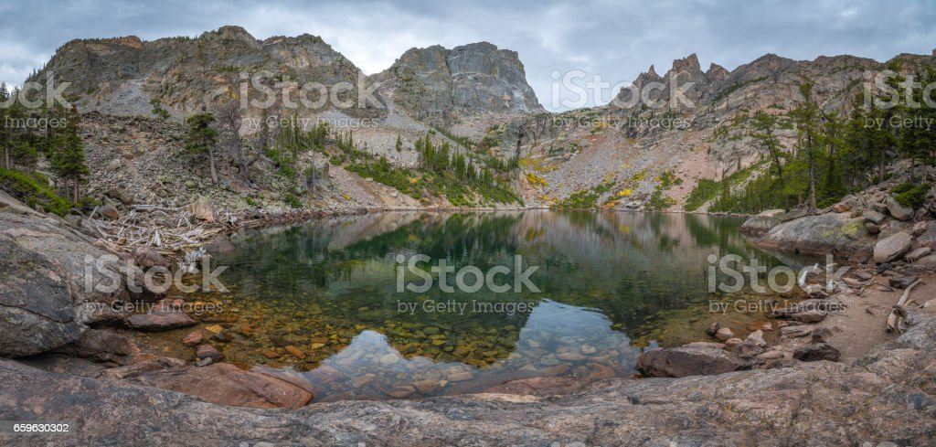 Reflections in Emerald Lake, Colorado stock photo
