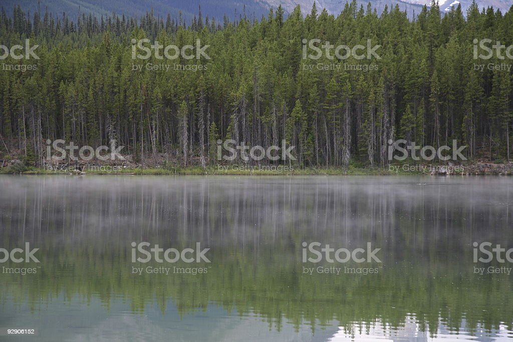 reflections in foggy lake stock photo
