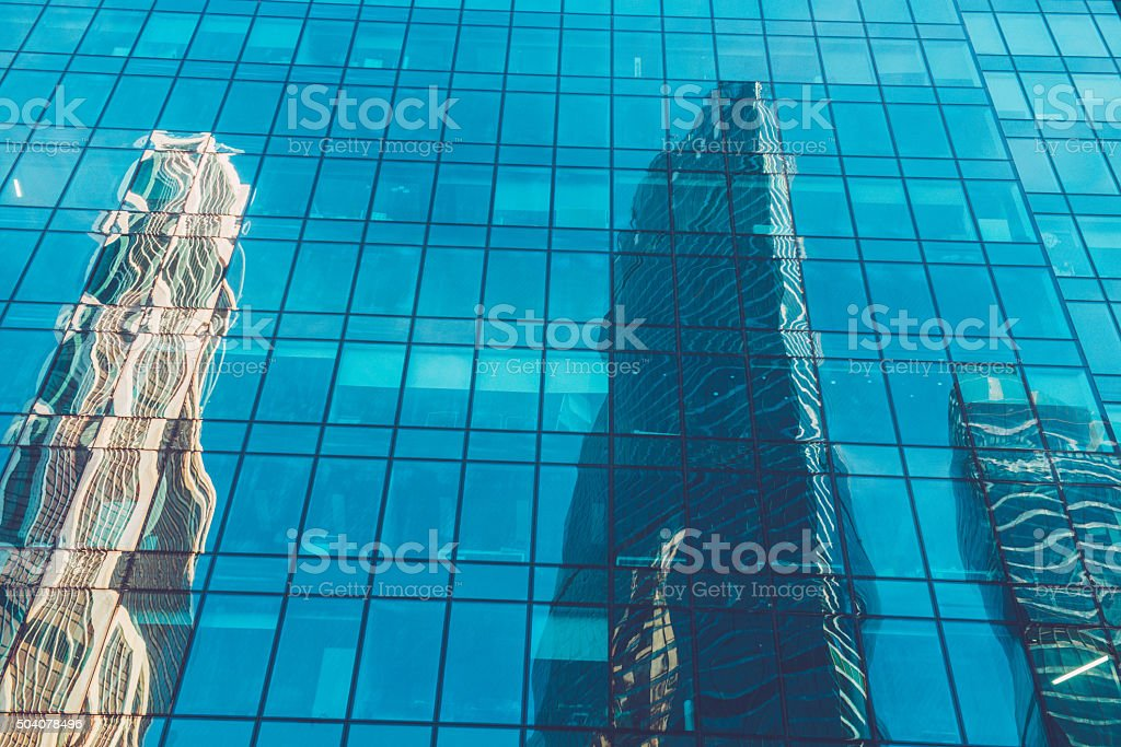 Reflections in International Business Center Moscow City, Russia stock photo