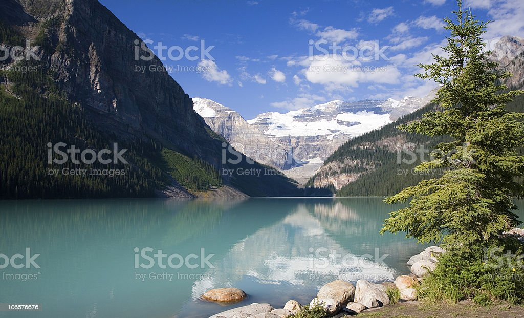 Reflections in Lake Louise stock photo