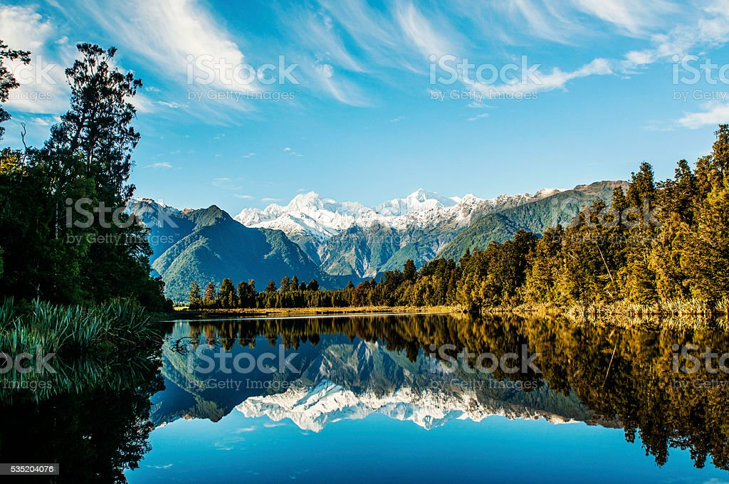 Reflections in Lake Matheson stock photo