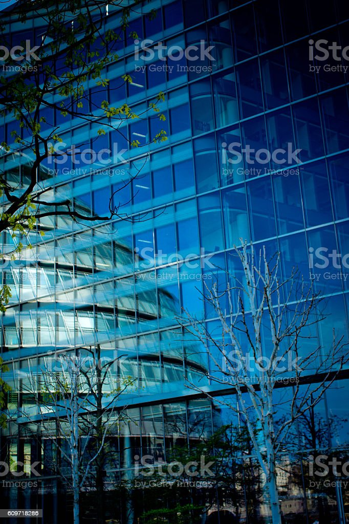 Reflections in London building stock photo