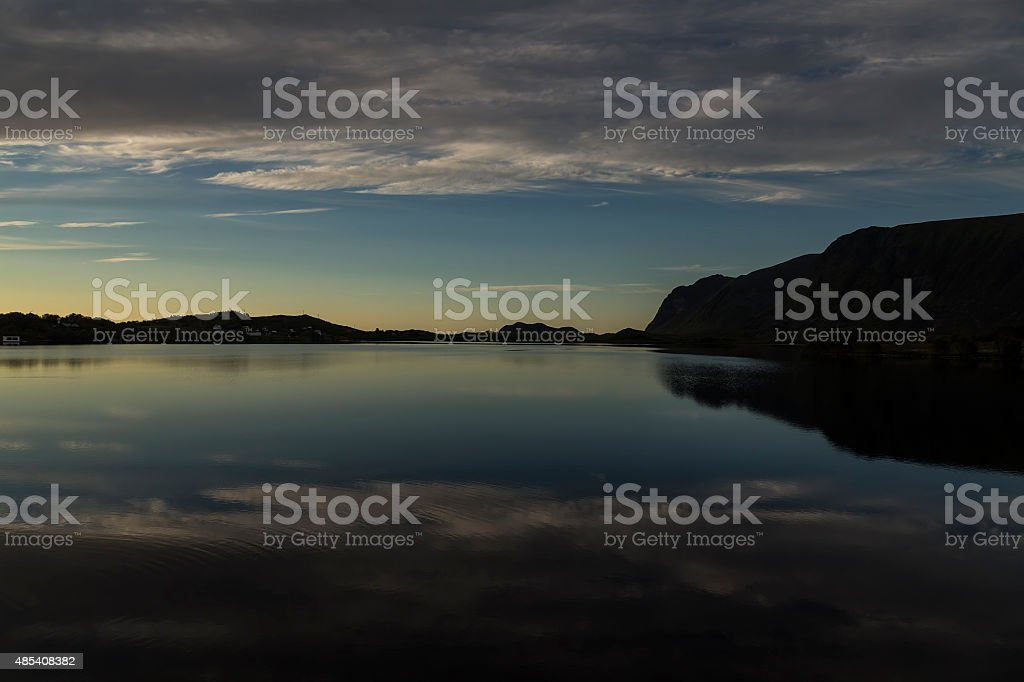 Reflections in the fjord royalty-free stock photo