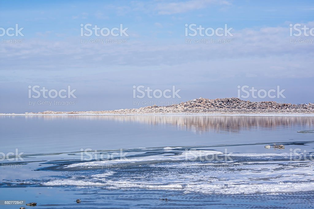 Reflections in the Great Salt Lake royalty-free stock photo