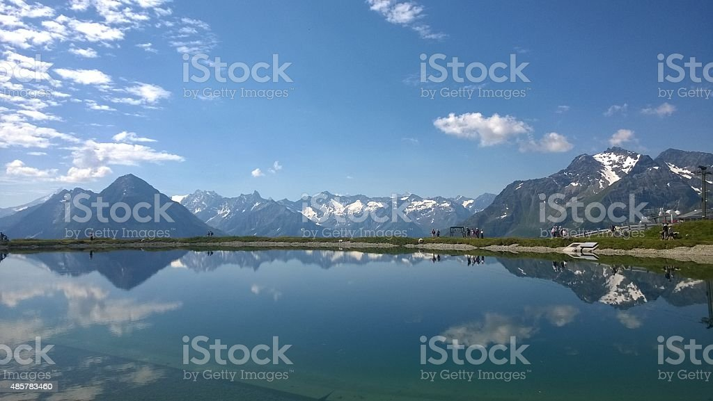Reflections in the lake stock photo