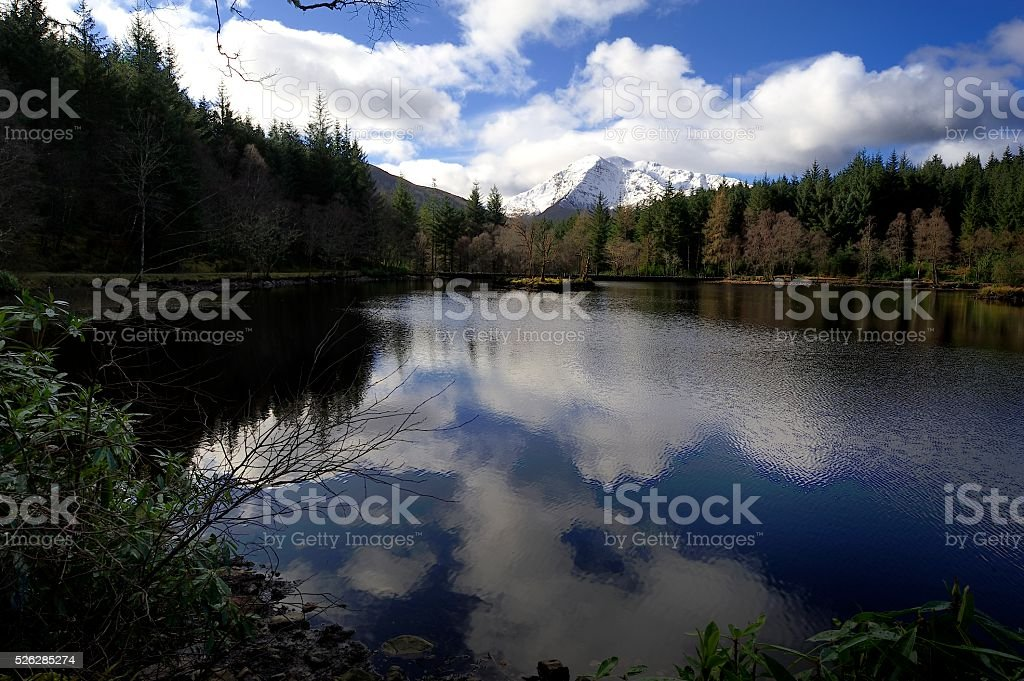 Reflections in the loch stock photo