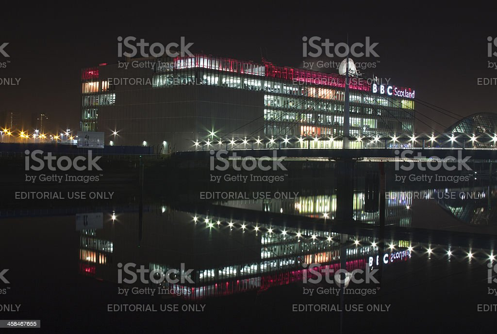 Reflections in the River Clyde, Glasgow. stock photo